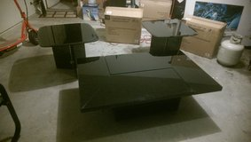 UNUSUAL BLACK GLASS COFFEE TABLE SET AND SIDE TABLES 3 PIECE SET in Conroe, Texas