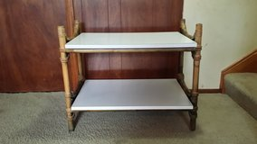 Vintage bamboo/wicker accent table in Aurora, Illinois