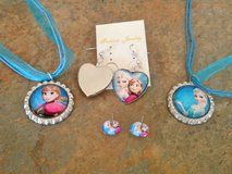 Disney Frozen Set 2 Necklaces (Elsa & Anna) plus (Choose) set of Earrings Silver Tone in Nellis AFB, Nevada