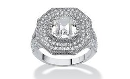 ***WOW! This Is GORGEOUS..3.15 TCW Ascher-Cut CZ Halo Hexagon Ring in Sterling Silver*** in The Woodlands, Texas