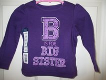Girls Toddler 12 Mos Shirt Long Sleeve Purple Big Sister New with tags, 2 for sale in Plainfield, Illinois