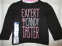 """Girls Toddler 12 Mos Shirt Long Sleeve Black Pink Everyday """"Candy Taster"""" Cotton in Plainfield, Illinois"""