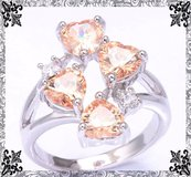 New - Morganite Hearts Ring - Size 7 in Alamogordo, New Mexico
