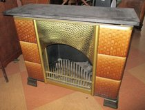 Eletric Heater Marble and Tile Fireplace with lighted Logs in Ramstein, Germany