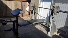 Weider Pro 235 Weight Bench with Olympic Weight Set (300lbs) in Travis AFB, California