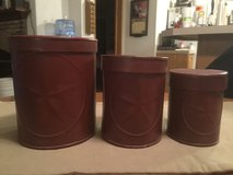 3 PC Red Tin Canister Set w/Stars in Chicago, Illinois