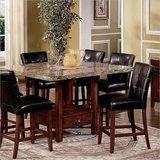 Beautiful Marble square top & leather chairs dining set, 9 piece brown marble set!! in Naperville, Illinois