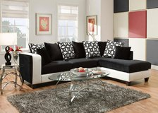 2 piece black & white leather sectional couch sofa with 10 pillows, beautiful!! in Wheaton, Illinois