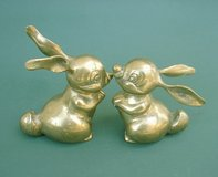 2 VTG BRASS LONG EAR RABBIT FIGURINES - KOREA in Chicago, Illinois
