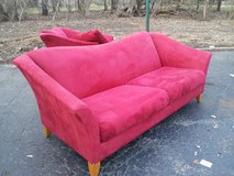 CHERRY RED MICROFIBER COUCH AND CHAISE in Westmont, Illinois