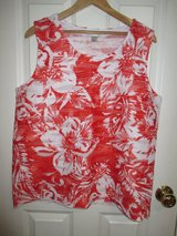 Womens CJ Banks Sleeveless Blouse Top Floral Plus Sz X Red Orange Everyday Dress in Naperville, Illinois
