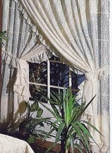"SUPER 136"" Wide NEW BEIGE Lace Medallion Ruffled Priscilla Curtain 84 Long Made USA in Wilmington, North Carolina"