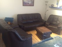 dark brown real leather couches in Ramstein, Germany