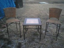 Patio / Porch set of wicker & metal chairs (2) and table in Camp Lejeune, North Carolina