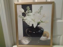 Black Vase w/White Flowers Framed Picture in Eglin AFB, Florida