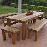 Wood outdoor table porch bbq patio deck bench in Camp Lejeune, North Carolina