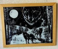 Wolf Pack painting on glass in Nellis AFB, Nevada