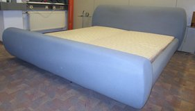 Grey Softside Kingsize German Bed with Mattresses and Boxsprings in Ramstein, Germany