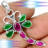 New - Dragonfly Ruby Quartz and Emerald Quartz 925 Sterling Silver Pendant with Chain in Alamogordo, New Mexico