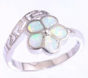 New - White Fire Opal Flower Ring - Size 7 in Alamogordo, New Mexico