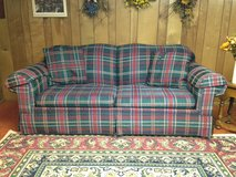 """84 """" long Multi-Color Rowe Branded -Custom made Couch w/ pillows in Bartlett, Illinois"""