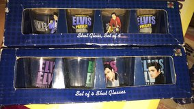 Elvis Presley shot glasses lot of two boxes of for each total eight you will be receiving in Alamogordo, New Mexico