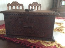 Wooden Box oakwood handcarved from 1870 in Ramstein, Germany
