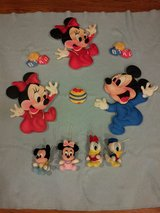 Vintage Baby Mickey and Minnie Mouse wall Hangings with plush toys in Joliet, Illinois