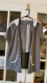 Ladies 2 piece capri and jacket grey and whiite in Bolingbrook, Illinois