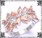 New - Morganite Butterflies Ring - Size 8 in Alamogordo, New Mexico