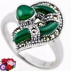 New - Green Chalcedony Marcasite 925 Sterling Silver Ring - Size 7 1/2 in Alamogordo, New Mexico