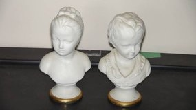 Boy & Girl Busts on Pedestals with Gold Trim - Vintage in Morris, Illinois