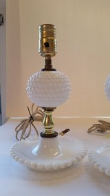 Hobnail Milk Glass Lamp in Westmont, Illinois