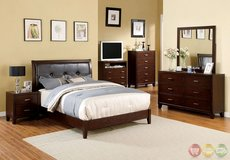 Queen Bed Brown Leatherette Wood in Fort Irwin, California