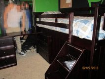 Loft twin bed with desk & dresser. in Travis AFB, California