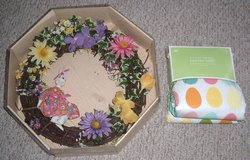 EASTER Vintage Wreath & Brand New Oblong Table Cloth 60 x 84 Oblong in Shorewood, Illinois