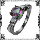 New - Rainbow Topaz and White Fire Opal Black Ring - Size 7 in Alamogordo, New Mexico
