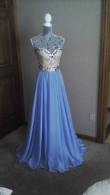 Dress from Peaches Boutique. Sherri Hill #1551923 sz 2, periwinkle and gold color in Elgin, Illinois
