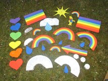 Huge lot of decoration for a rainbow party in Ramstein, Germany