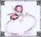 New - Garnet Butterfly Ring - Size 8 in Alamogordo, New Mexico