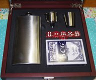 Mens Gift Set - Flask, Shooters, Cards, and Dice in Beaufort, South Carolina