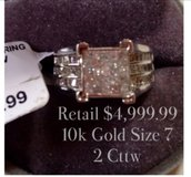 1)retail $ 4999.99  for sale $800,10K gold Size 7 2 CTTW.2).retail $799.99 for sale $300 10K Go... in Aurora, Illinois