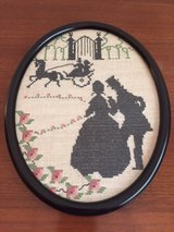 Oval Framed Victorian Embroidered Picture in Lockport, Illinois