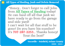 Local Hauler for Your Junk and Debris Removal Needs in Vacaville, California