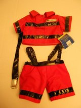 NEW Build A Bear FireFighter 2 PC Outfit Fireman Fire Fighter Red Pants Top w/ Hose in Houston, Texas