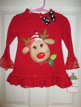 Toddler Girls Rare Editions 2T Red Reindeer Christmas Holiday Shirt NWT in Bolingbrook, Illinois
