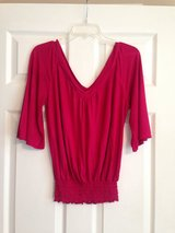 Deep Raspberry V Neck Top in Fort Riley, Kansas