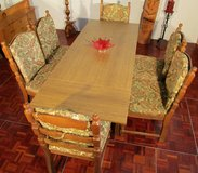 Nice Extendable Table with 6 Solid Oak Chairs in Ramstein, Germany