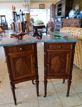 set of 2 elegant French night stands with grey marble tops in Spangdahlem, Germany