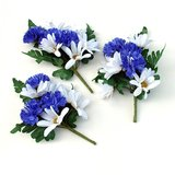 "SILK FLOWERS: 3 DAISY & CORNFLOWER 7""  SPRAYS in St. Charles, Illinois"
